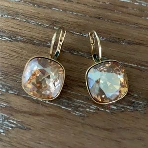 Swarovski Gold Crystal Drop Square Earrings